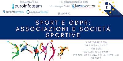 Seminario Sport e GDPR: Associazioni e Società sportive