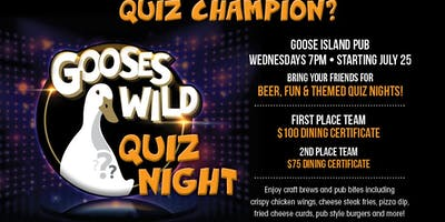 TRIVIA NIGHT every Wednesday at GOOSE ISLAND PUB inside HARD ROCK HOTEL