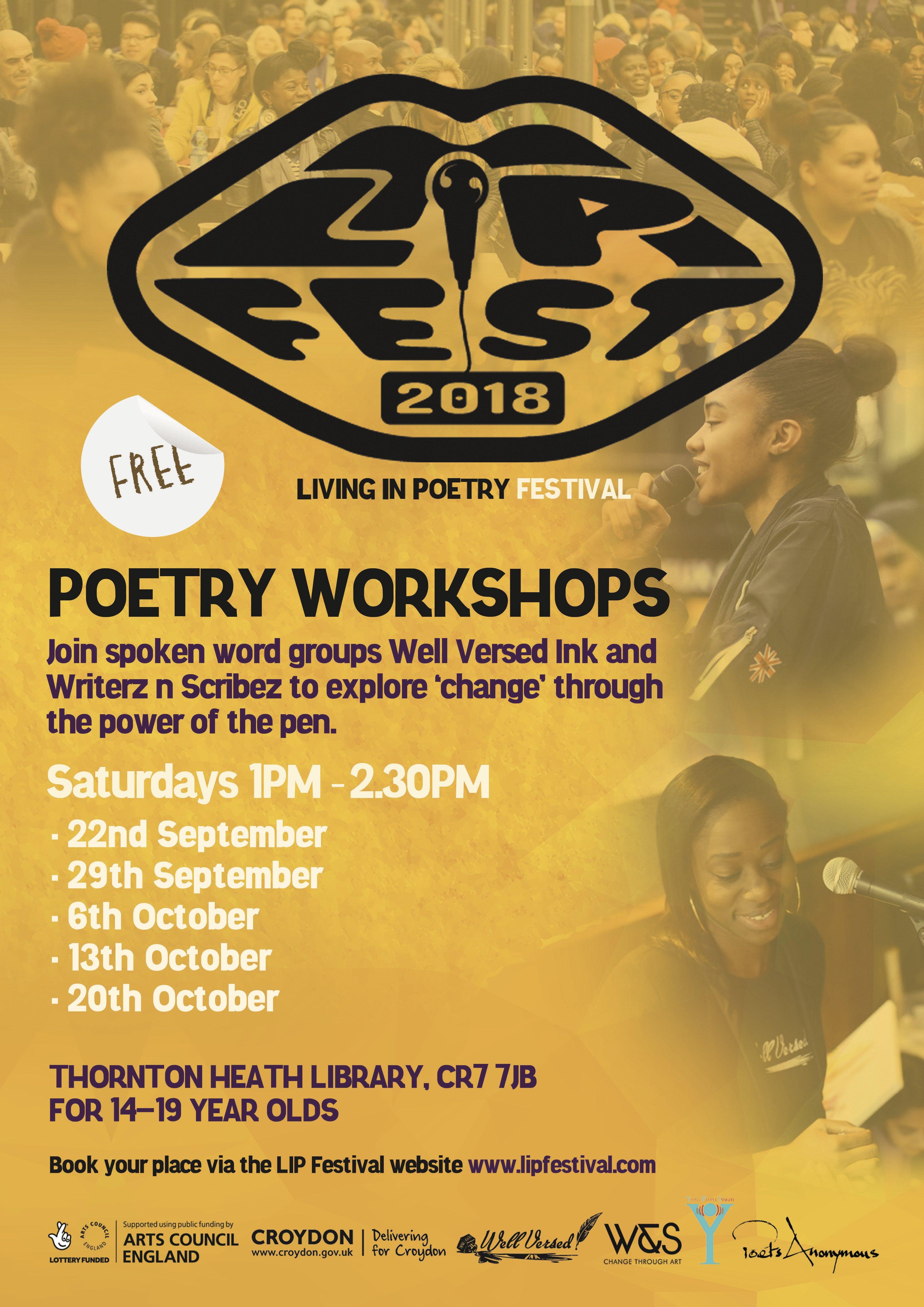LIP Festival Poetry Workshops (14-19 year olds)
