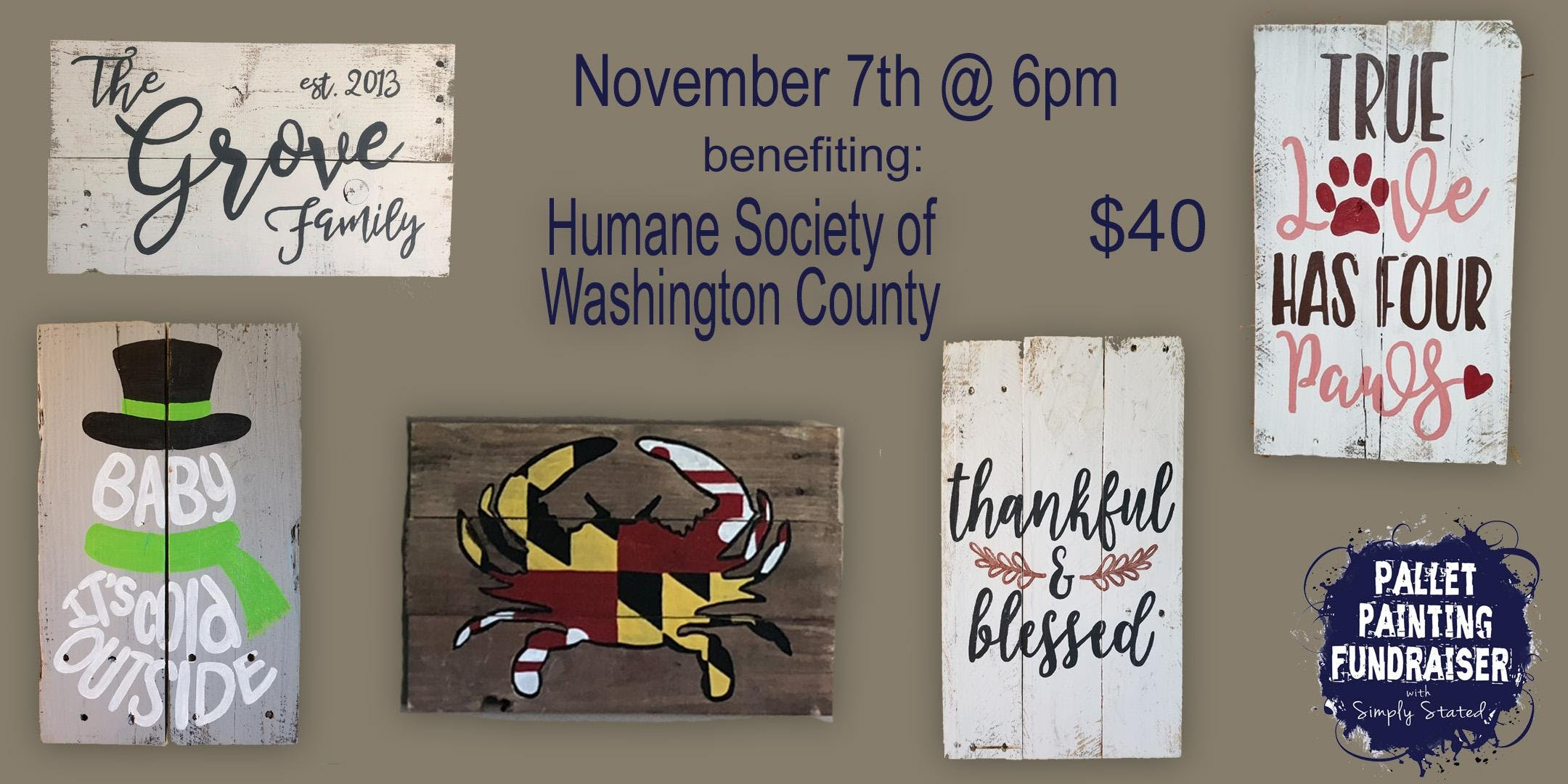 pallet painting fundraiser benefiting humane society of wash co