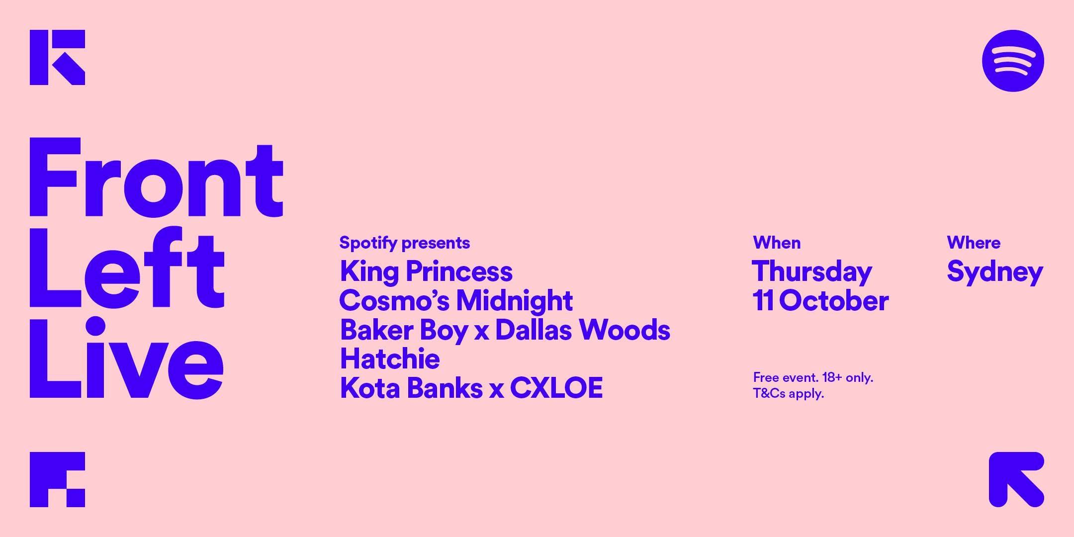 Spotify presents: Front Left Live / Thursday, October 11 7