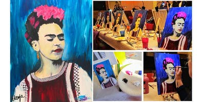 """PAINTOMANIA Acrylcollage \""""Hello Frida!\"""" in Hannover"""