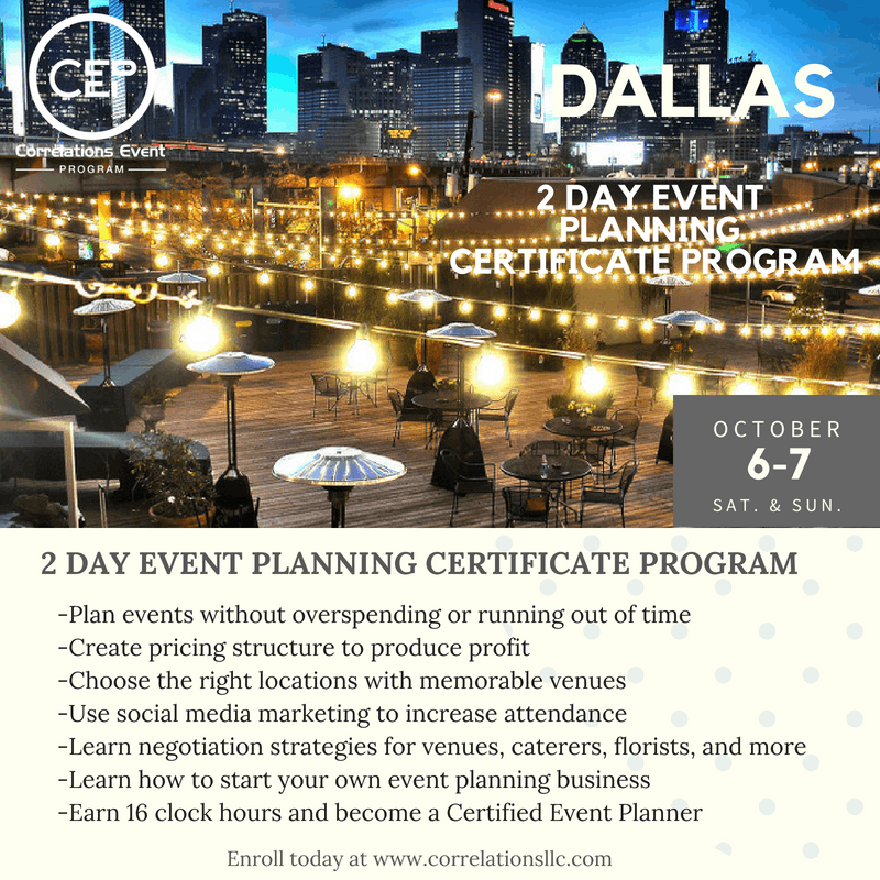 2 Day Dallas Event Planning Certificate Program October 6 7 2018