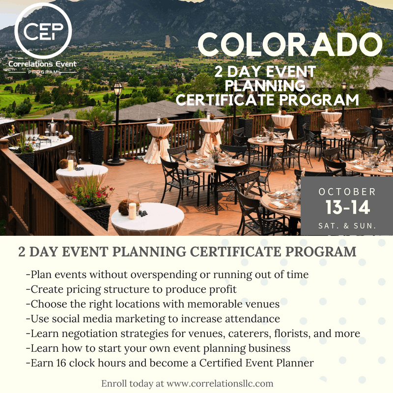 2 Day Colorado Event Planning Certificate Program October 13 14