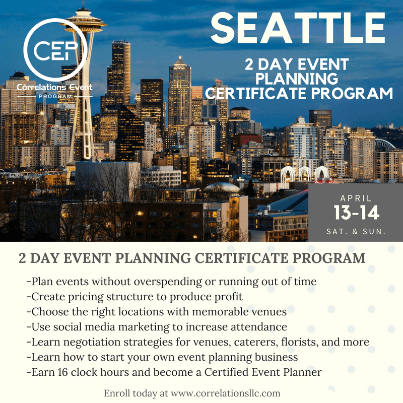 2 Day Seattle Event Planning Certificate Prog