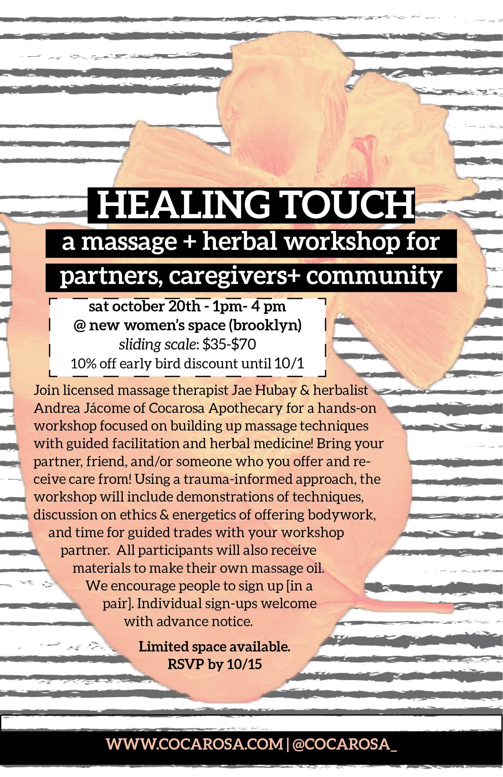 When Caregivers Need Healing >> Healing Touch A Massage Herbal Workshop For Partners Caregivers