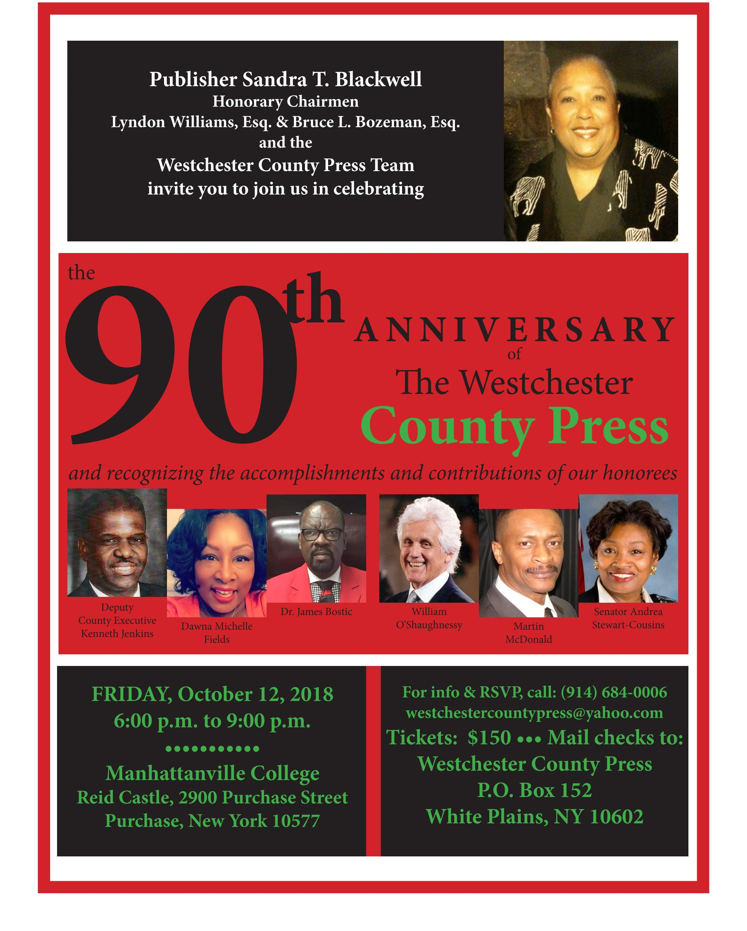 Westchester County Press 90th Anniversary Celebration - 12 OCT 2018