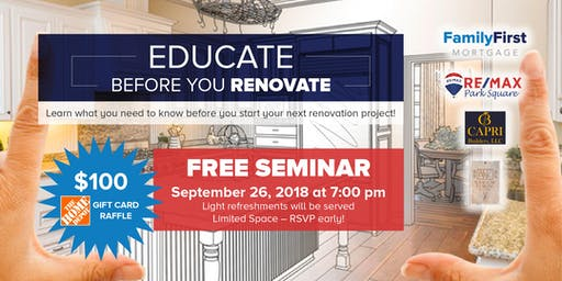 Educate Before You Renovate Home Renovation Seminar