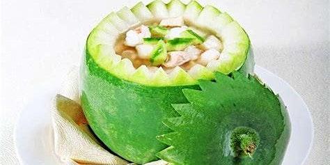 Bone Broth in WinterMelon, Sticky Rice in Lotus Leaf & Almond Milk w Papaya