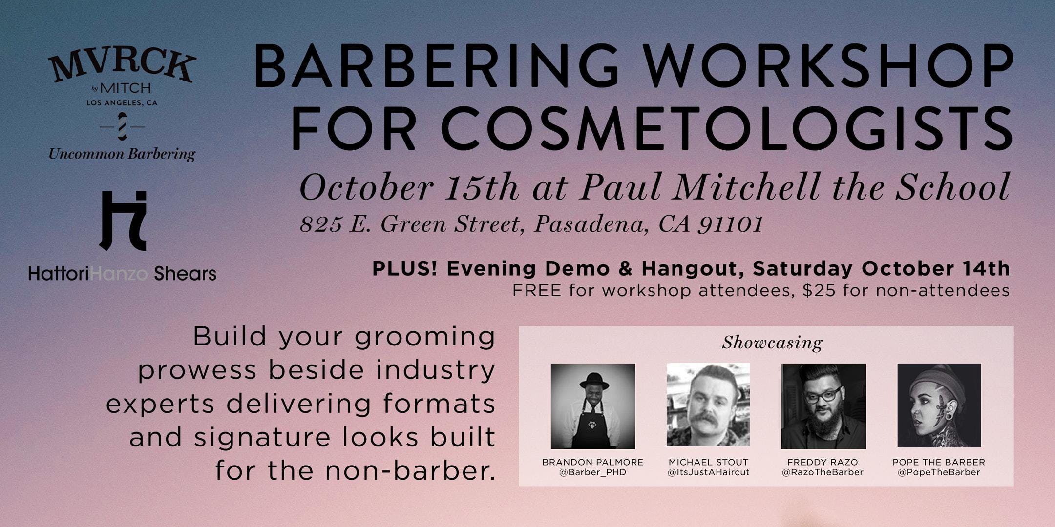 Barbering Workshop For Cosmetologists 15 Oct 2018