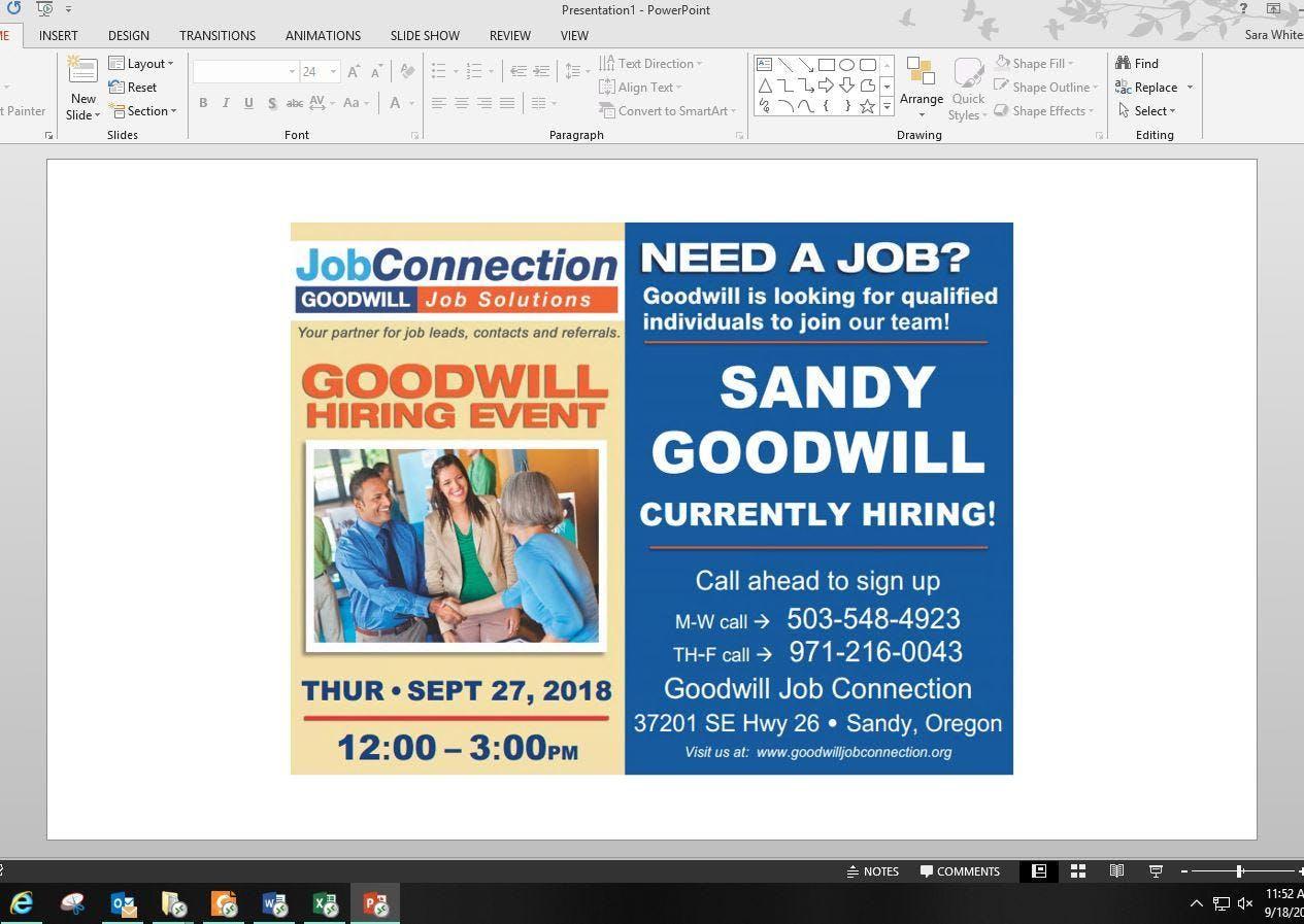 Goodwill is Hiring! Sandy - 9/27/18 - 27 SEP 2018