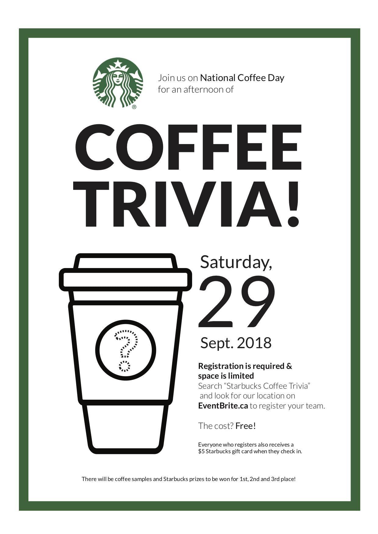 Starbucks Coffee Trivia - Toronto - 29 SEP 2018
