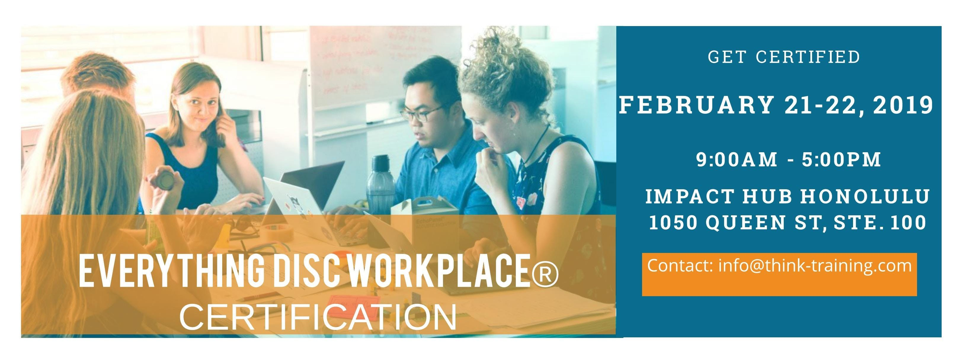 Everything Disc Workplace Facilitator Certification 21 Feb 2019