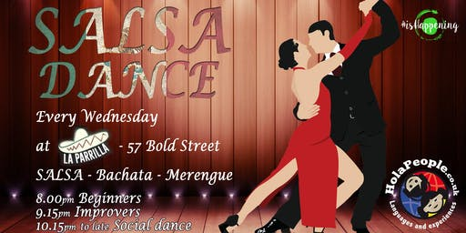 Wednesdays Salsa/Bachata/Merengue classes + Social at La Parrilla, Bold St.