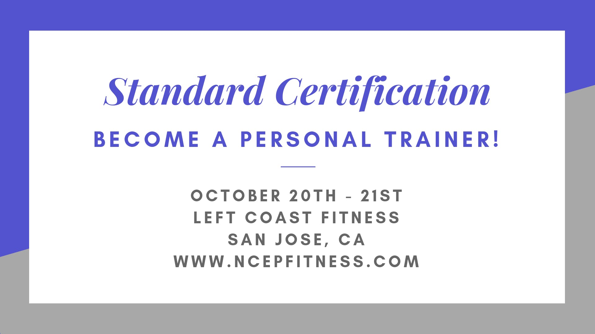 Personal Training Certification Workshop 20 Oct 2018