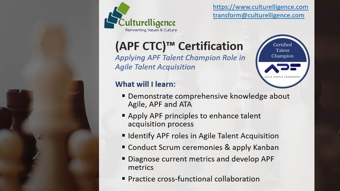 Agile People Framework Certified Talent Champion Apf Ctc Dallas