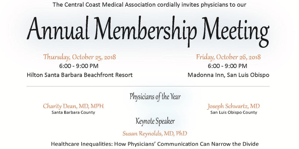 Annual Membership Meeting San Luis Obispo Tickets Fri Oct 26 2018