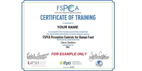 PART2 - FSMA Preventive Controls Qualified Individual (PCQI) - Online tickets