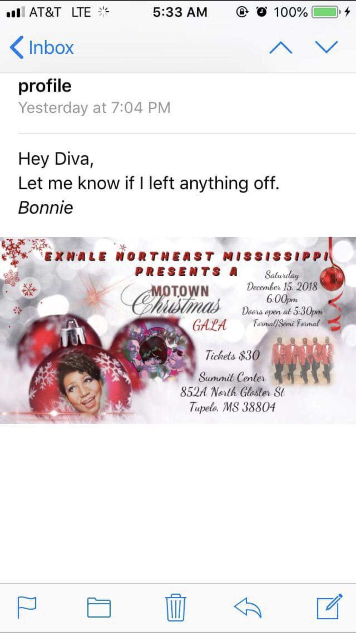 Power to Exhale Northeast Ms presents Motown Christmas - 15 DEC 2018