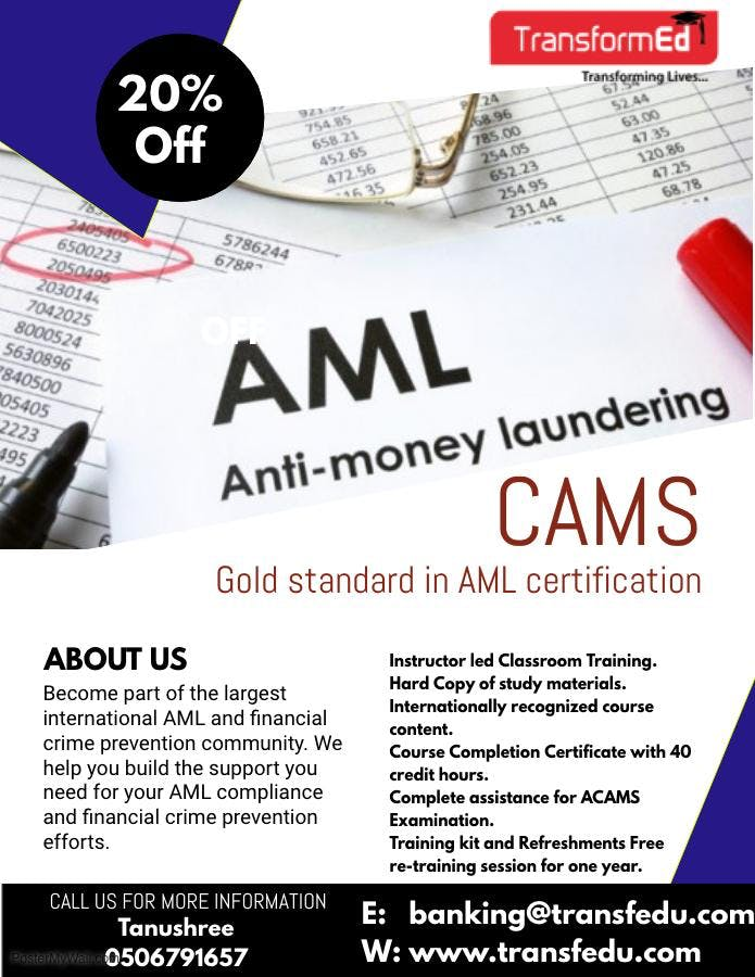 Certification In Antimoney Laundering Specialist Cams 23 Nov 2018