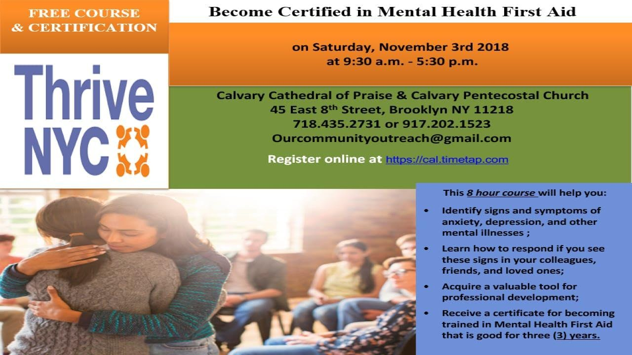 Become Certified In Mental Health First Aid 3 Nov 2018