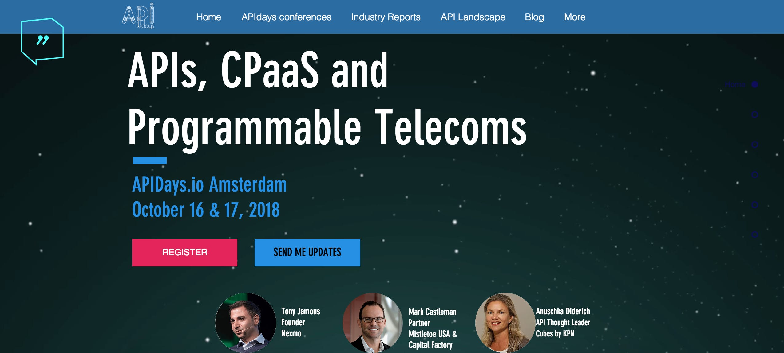 APIDAYS AMSTERDAM 2018 - API'S, CPAAS AND PROGRAMMABLE TELECOMS