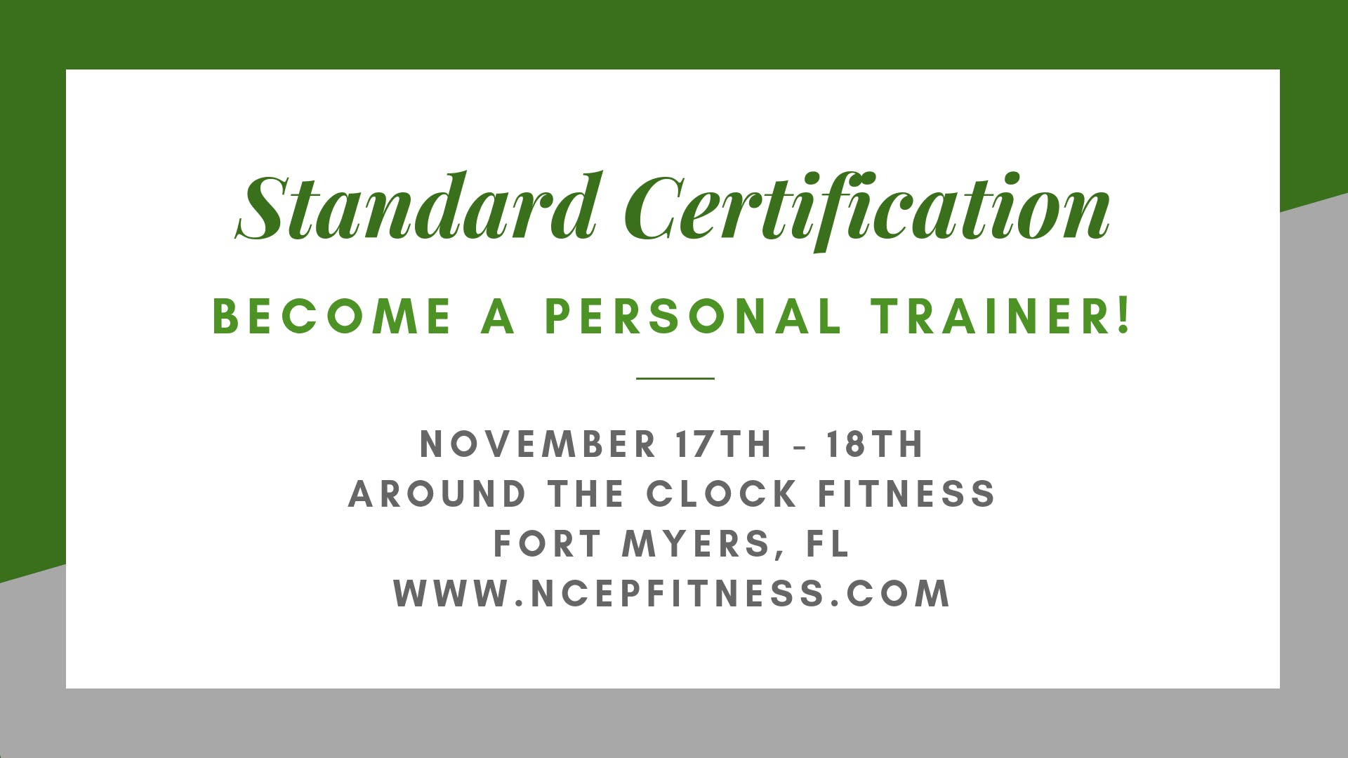 Personal Training Certification Workshop 17 Nov 2018