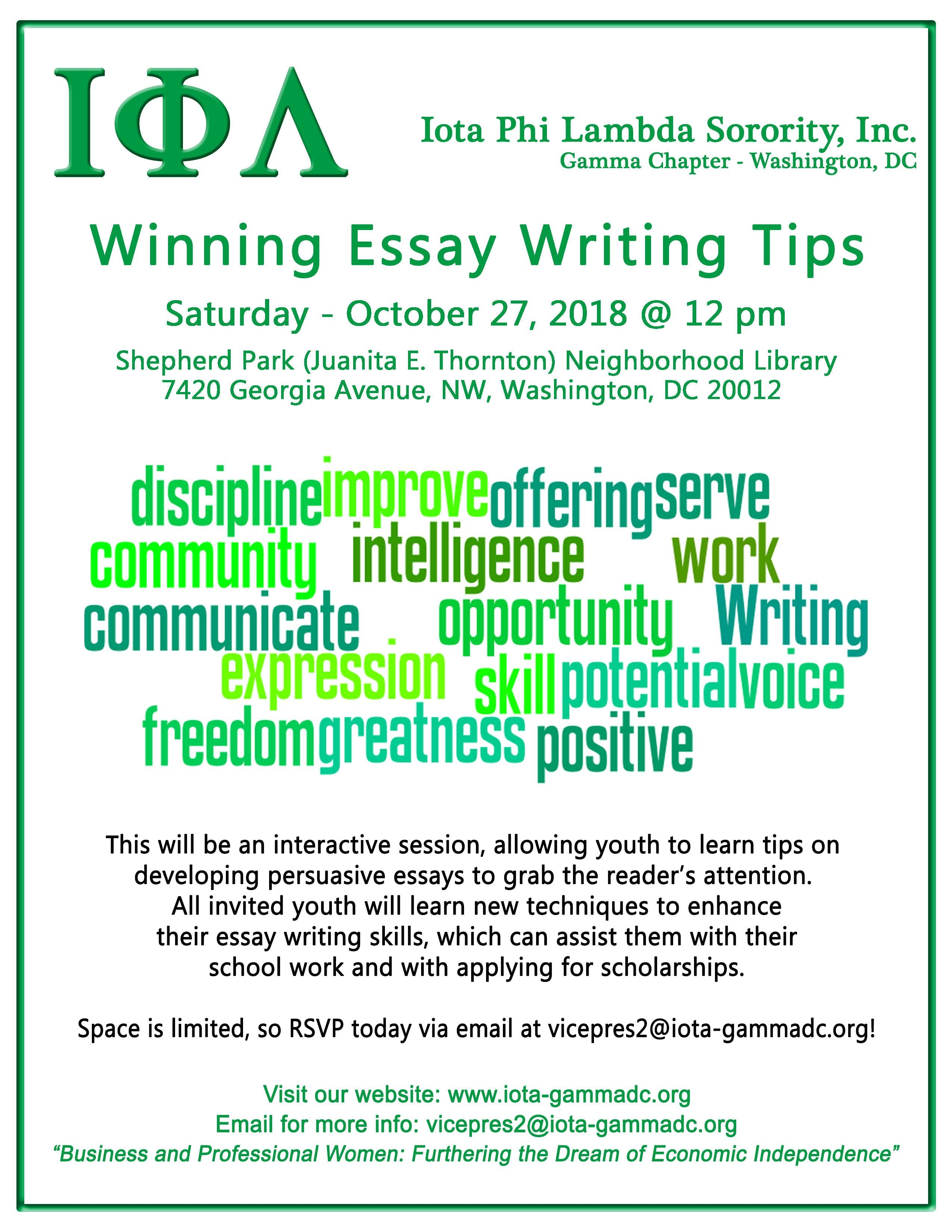 Winning Essay Writing Tips At Juanita E Thorntonshepherd Park  Winning Essay Writing Tips