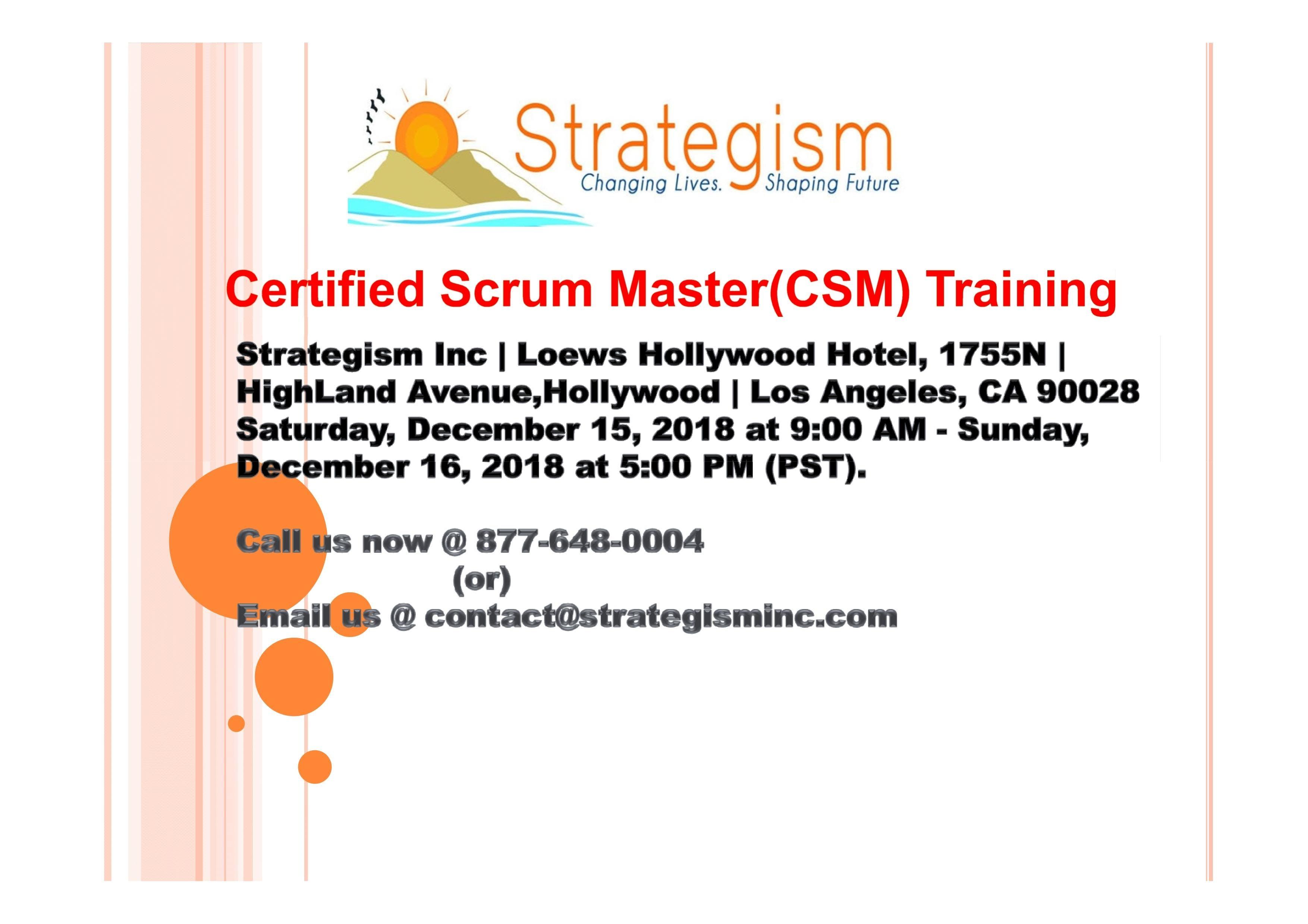 Certified Scrum Master Csm Training For Pasadena Dec 15162018