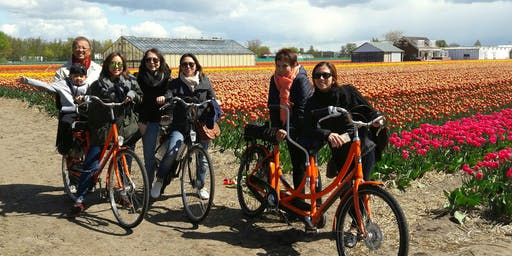 Keukenhof flower field bike tour +visit tulip farm