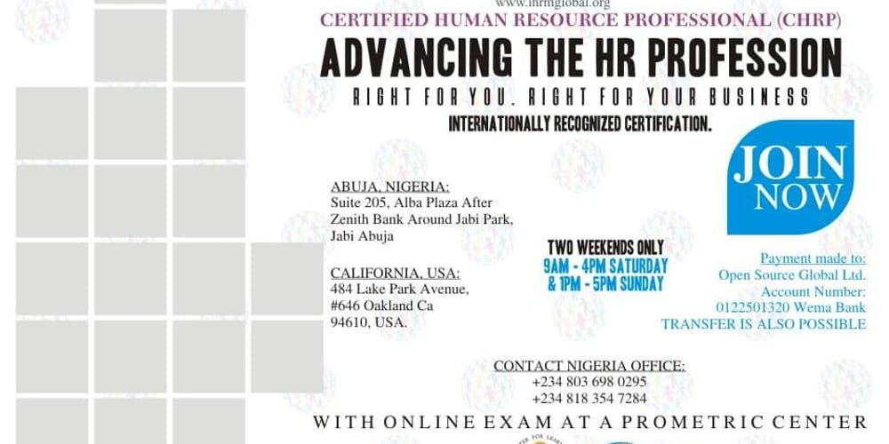 Become An Internationally Certified Human Resource Professional Chrp