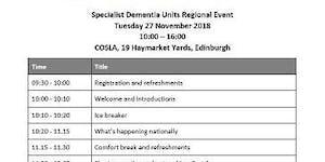 Specialist Dementia Units Network Regional Event -...
