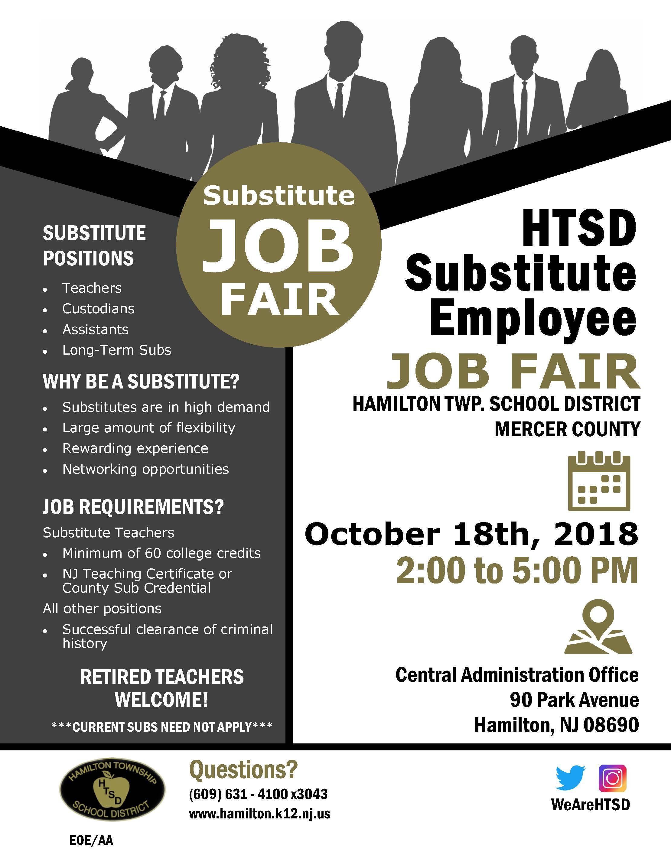 Insight At Htsd Substitute Employee Job Fair Hamilton Township