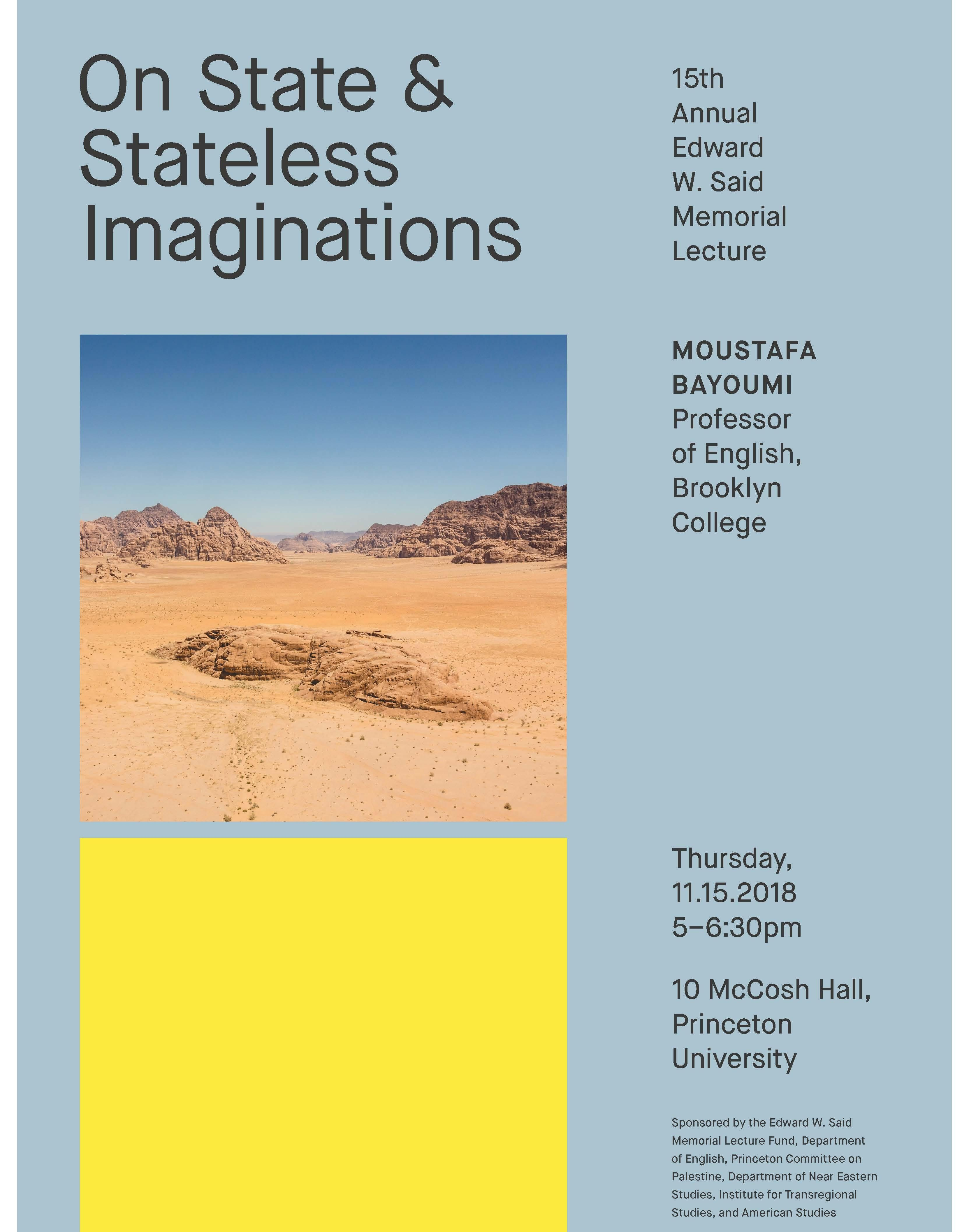 Edward W. Said Memorial Lecture, On State and