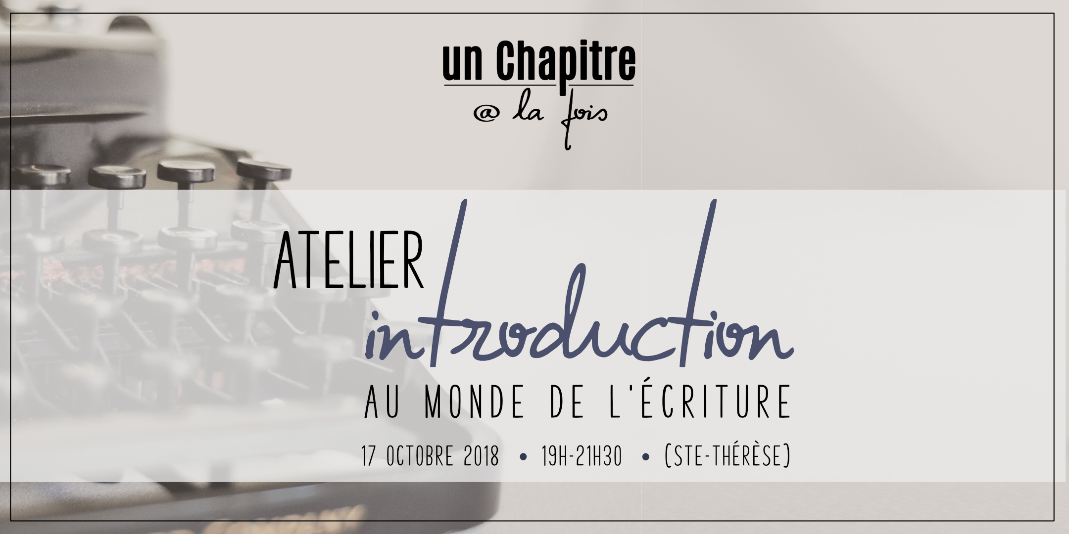 Atelier Introduction au monde de l'écriture