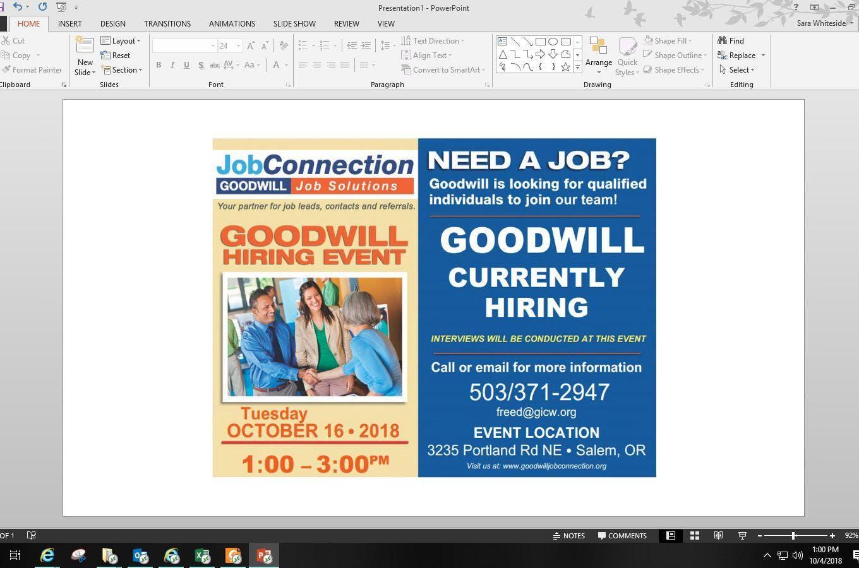 Goodwill Is Hiring Salem 101618 16 Oct 2018