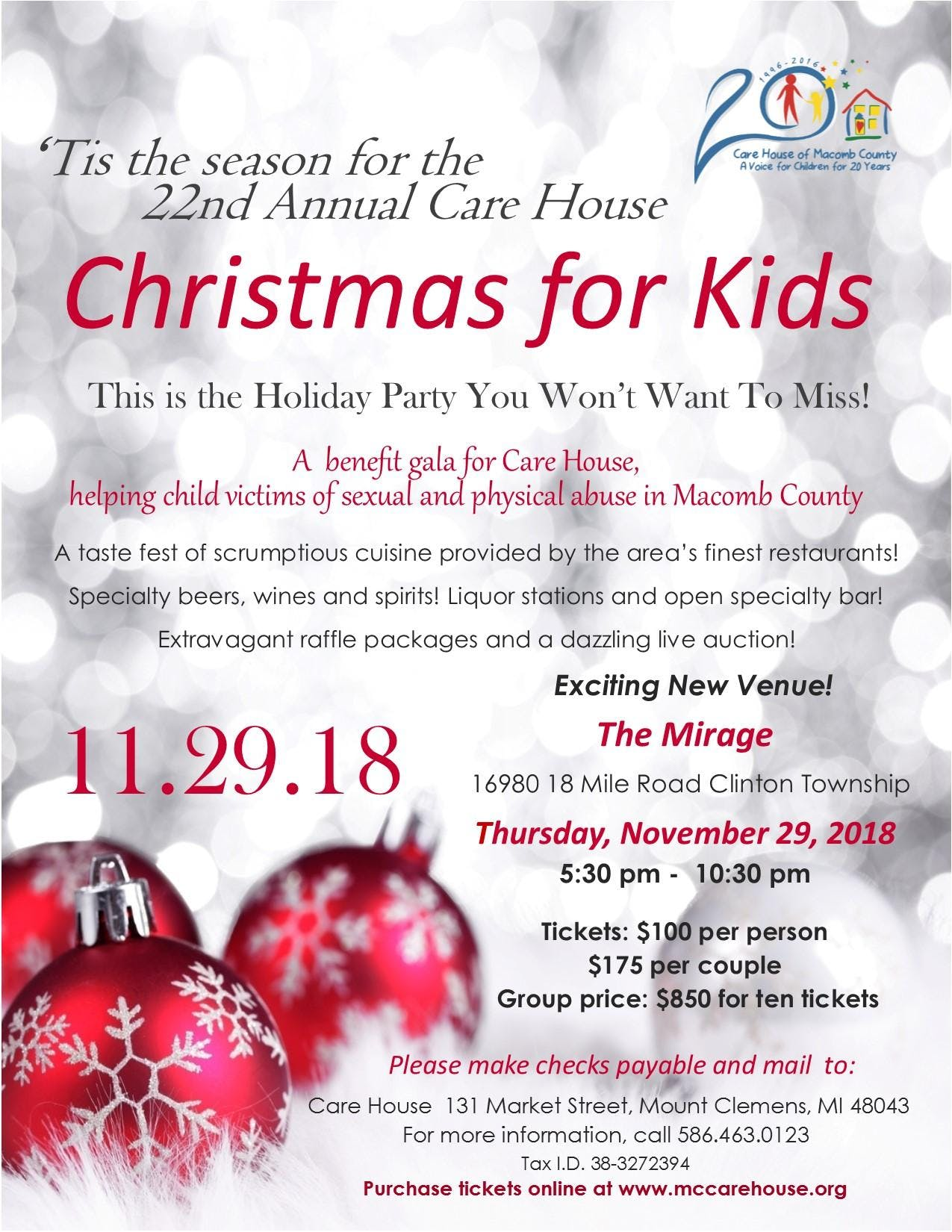 22nd Annual Care House Christmas for Kids Gala - 29 NOV 2018