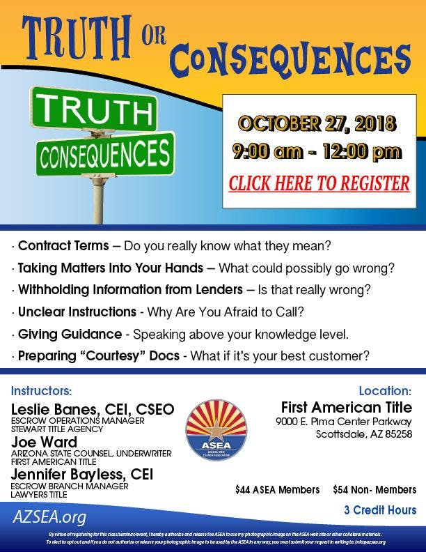 ASEA Class - Truth or Consequences October 2018