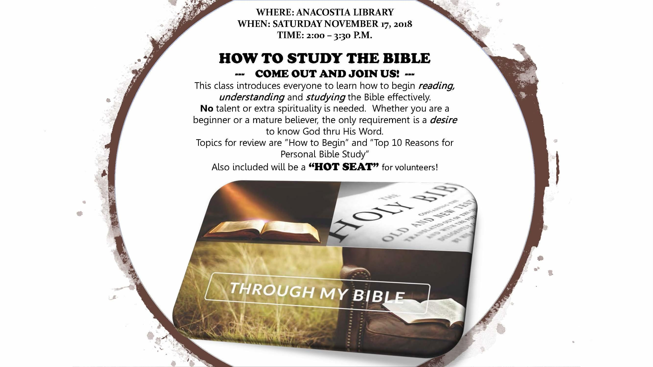 """""""HOW TO STUDY THE BIBLE"""" WORKSHOP"""