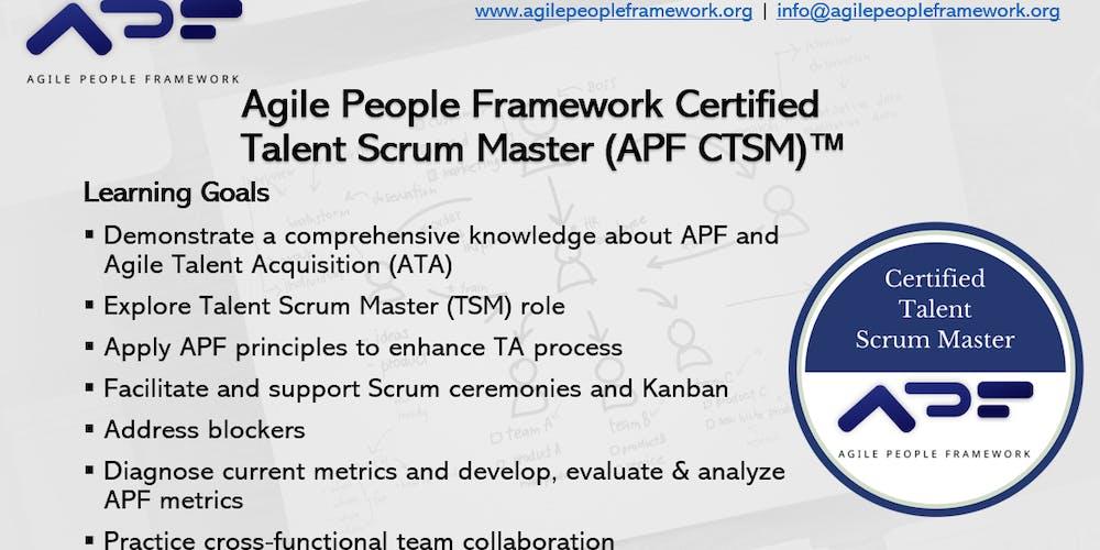 Agile People Framework Certified Talent Scrum Master Apf Ctsm