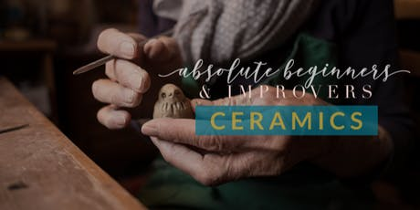 CERAMICS: ABSOLUTE BEGINNERS & IMPROVERS - 8 Weeks of Weekly Adult Ceramics - day time option tickets