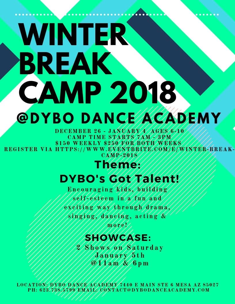 WINTER BREAK CAMP 2018 @ DYBO Dance Academy!