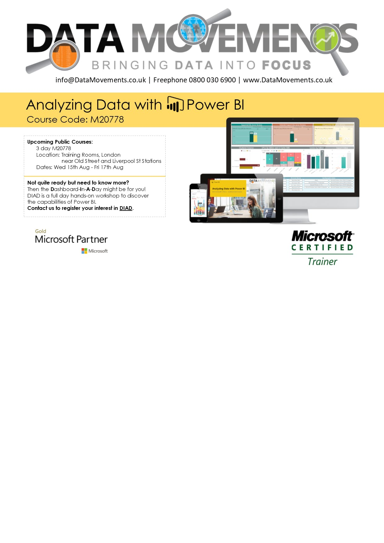 "M20778 3-Day Public Class ""Analyzing Data wit"