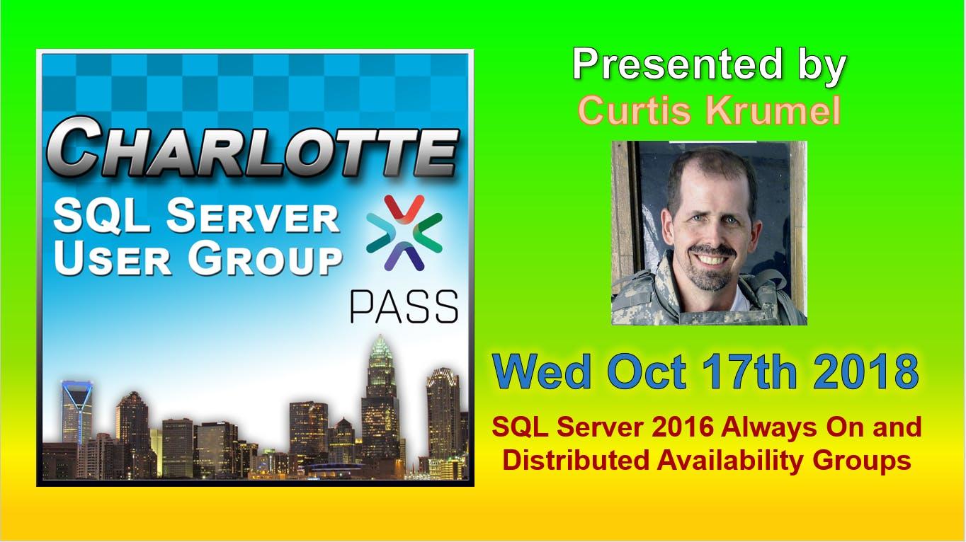 Charlotte SQL Server User Group - Wed October
