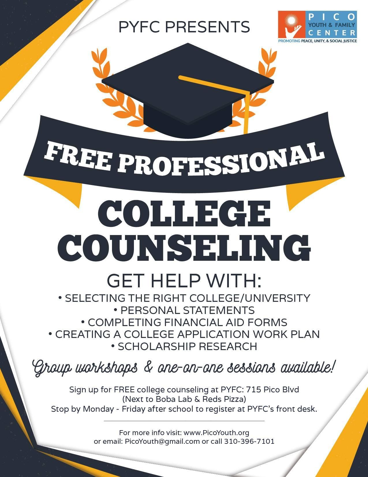 Free College Counseling at Pico Youth & Family Center, Santa