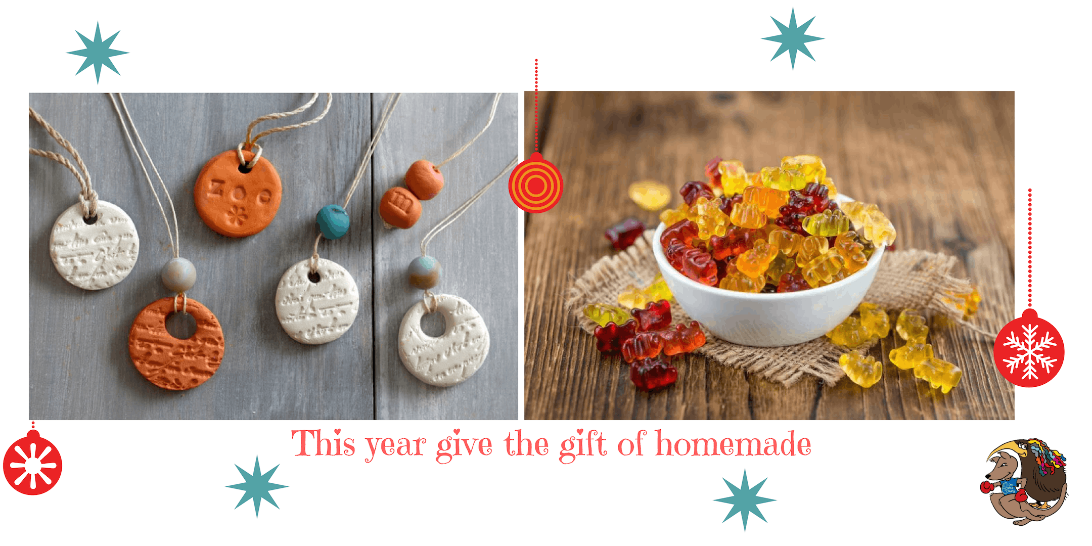 Christmas Gifts and Crafts- Clay diffuser necklaces and gummy bears ...