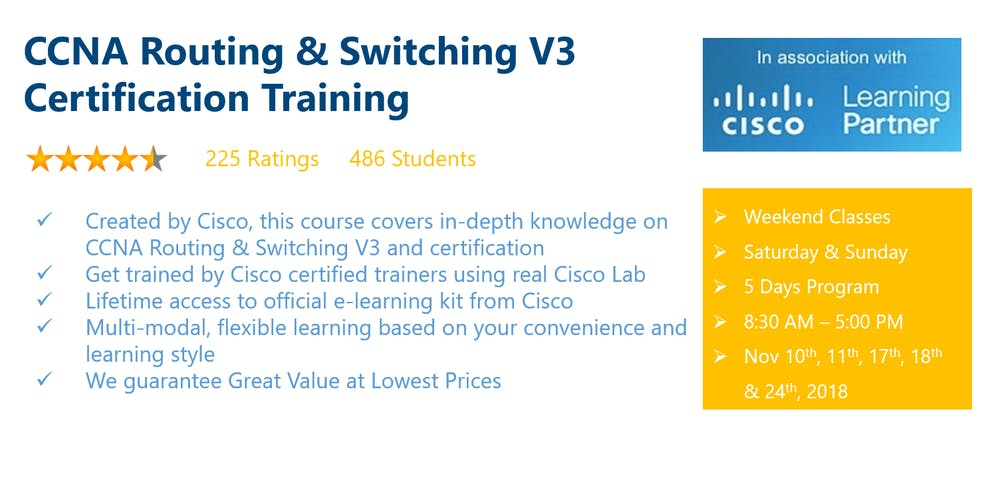 Ccna Routing Switching V3 Certification Training Tickets Sat Nov
