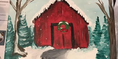 Winter Barn Painting