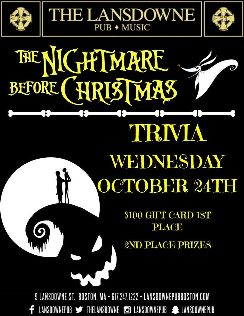 Nightmare Before Christmas Trivia at The Lansdowne Pub! - 24 OCT 2018