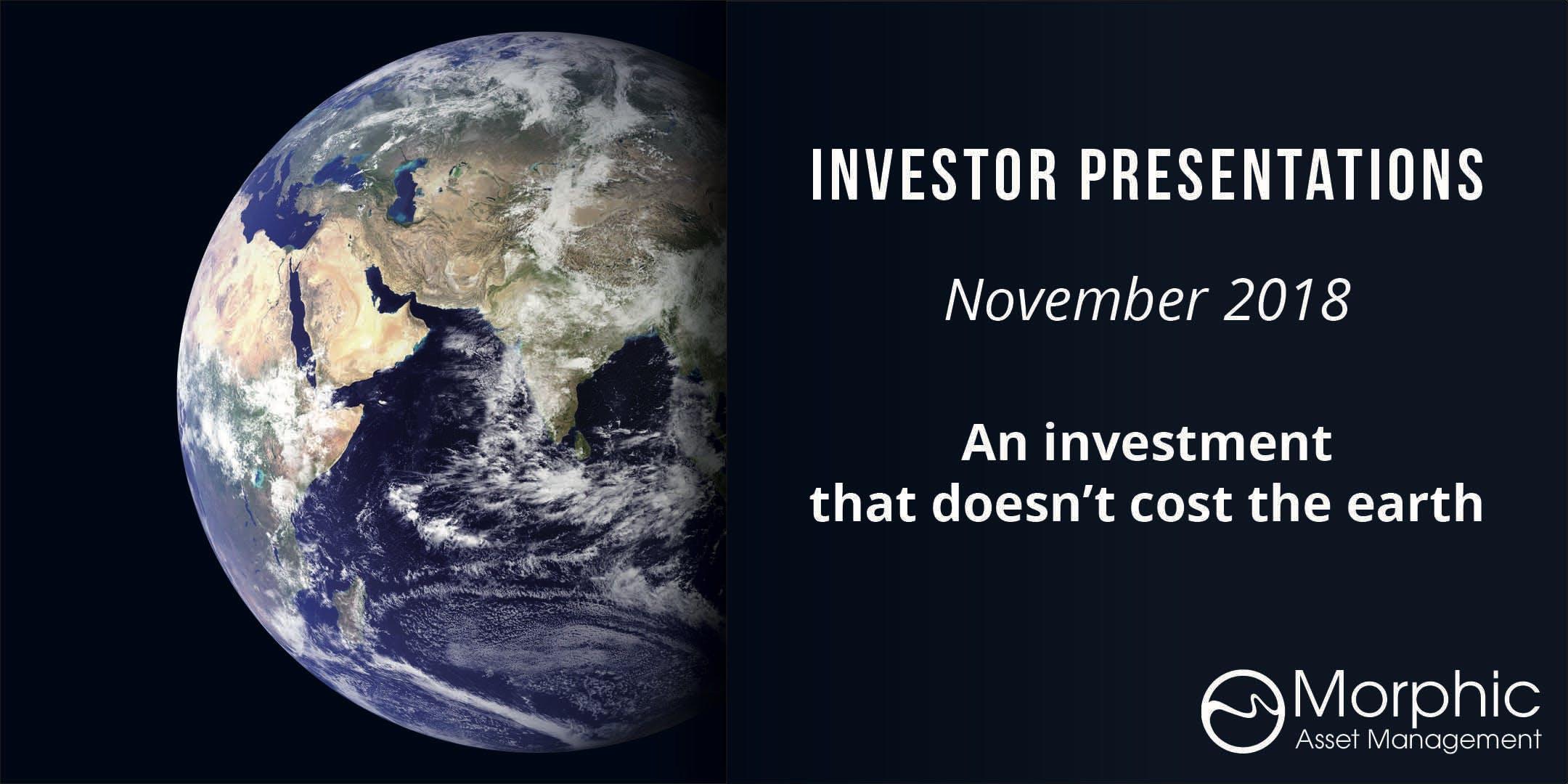 Morphic Investor Update | ADELAIDE | 15 Novem